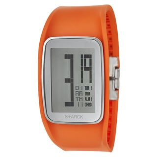 Philippe Starck Men's 'Digital' Stainless Steel Digital Orange Strap Rounded Chronograph Watch