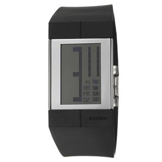 Philippe Starck Men's 'Digital' Stainless Steel Black Strap Square Digital Chronograph Watch