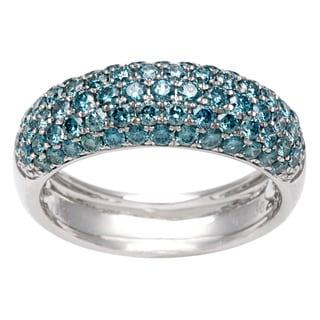 18k White Gold 1 1/3ct TDW Blue Diamond Pave Ring