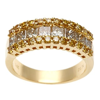 14k Yellow Gold 1 3/4ct TDW Brown and Yellow Diamond Ring