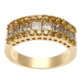 14k Yellow Gold 1 3/4ct TDW Brown and Yellow Diamond Ring