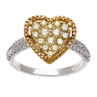 18k Gold 7/8ct TDW Yellow and White Diamond Heart Ring (G-H, SI1-SI2)