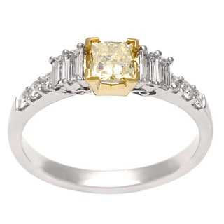 18k Two-tone Gold 1ct TDW Yellow and White Diamond Ring (H-I, SI1-SI2)