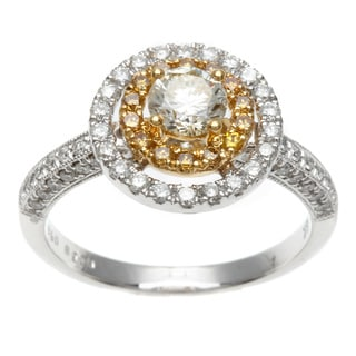 Kabella Luxe 18k Two-tone Gold Halo 1 1/5ct TDW White and Yellow Diamond Ring (H-I, SI1-SI2)