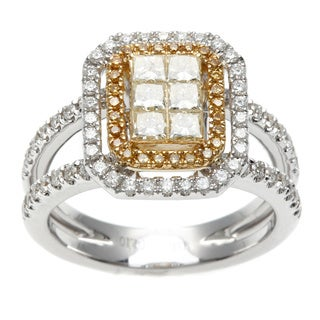 18k Two-tone Gold 1 1/10ct TDW Yellow and White Diamond Ring (G-H, SI1-SI2)