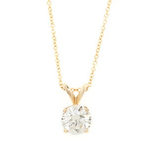 Diamonds For a Cure 14k Yellow Gold 1ct TDW Solitaire Necklace