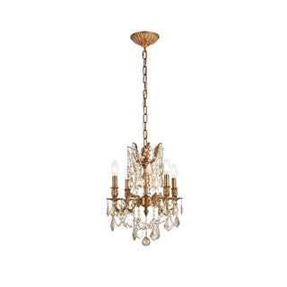 Christopher Knight Home Zurich 4-light Royal Cut Gold Crystal and French Gold Chandelier