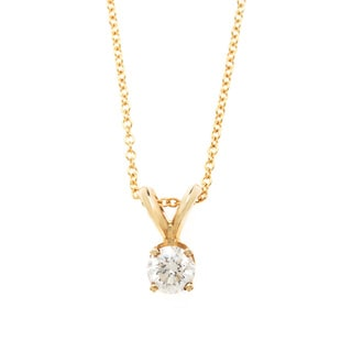 Diamonds For A Cure 14k Yellow Gold 1/3ct TDW Solitaire Necklace (H-I, SI1-SI2)