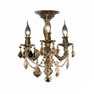 Christopher Knight Home Lugano 3-Light Royal Cut Crystal/ Bronze Flush Mount