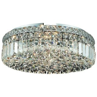 Somette Lausanne 6-light Royal Cut Crystal and Chrome Flush Mount