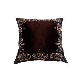 Bead Embelished 20-inch Velvet Decorative Down Fill Throw Pillow
