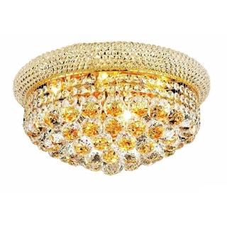 Somette Geneva 8-light Royal Cut Crystal and Gold Flush Mount