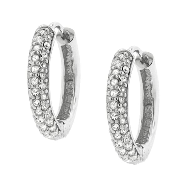 Sterling Silver Crystal Petite Sparkle Hoop Earrings
