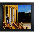 Edward Hopper 'Sunlight on Brownstones' Hand Painted Framed Canvas Art