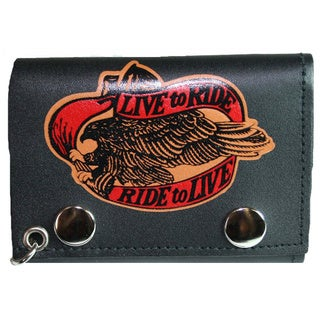 'Live to Ride, Ride to Live' Black Tri-fold Chain Wallet