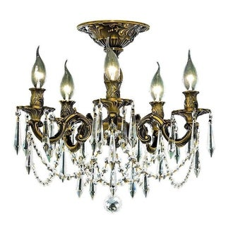 Somette Meilen 5-light Royal Cut Crystal and Bronze Flush Mount
