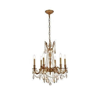 Somette Lucerne 6-light Royal Cut Gold Crystal and French Gold Chandelier