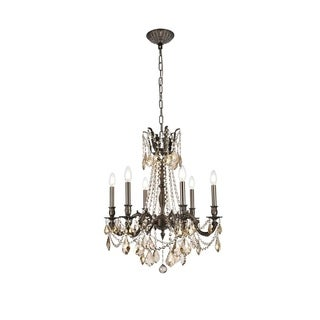 Christopher Knight Home Lucerne 6-light Royal Cut Gold Crystal and Pewter Chandelier