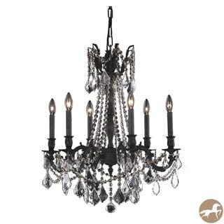 Christopher Knight Home Lucerne 6-Light Royal Cut Crystal/ Dark Bronze Chandelier