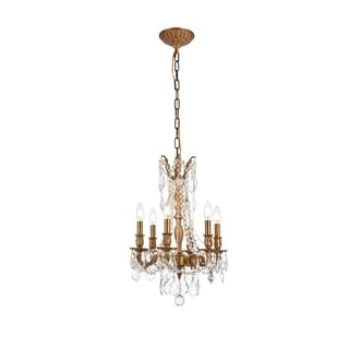 Christopher Knight Home Lucerne 6-light Royal Cut Crystal/ French Gold Chandelier