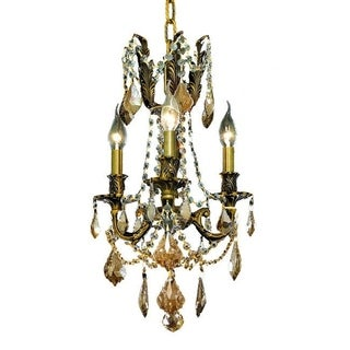 Christopher Knight Home Lugano 3-light Royal Cut Gold Crystal/ Antique Bronze Chandelier