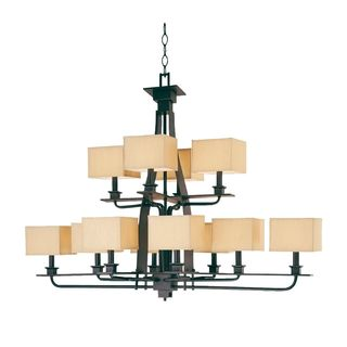Twelve Light Black/ Gold Mirabelle Chandelier