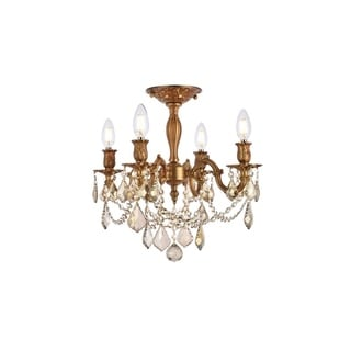 Christopher Knight Home Zurich 4-light Royal Cut Gold Crystal and French Gold Flush Mount