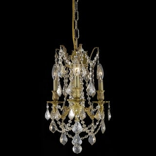Christopher Knight Home Lugano 3-light Royal Cut Gold Crystal and French Gold Chandelier