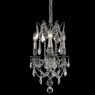 Christopher Knight Home Lugano 3-light Royal Cut Crystal and Pewter Chandelier