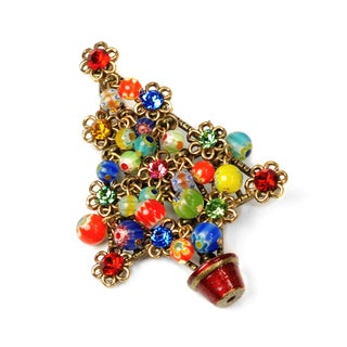 Sweet Romance Gold Overlay Millefiori Bead Holiday Tree Pin