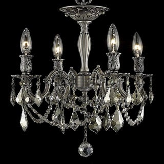 Christopher Knight Home Zurich 4-light Royal Cut Gold Crystal/ Pewter Flush Mount