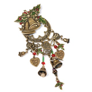 Sweet Romance Bronzetone Holly and Bells Christmas Pin