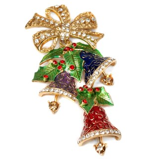 Sweet Romance Bronzetone Enamel Bells Christmas Pin