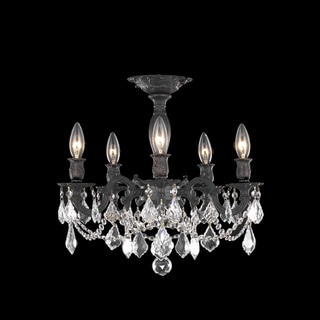 Christopher Knight Home Meilen 5-light Royal Cut Crystal and Antique Bronze Flush Mount