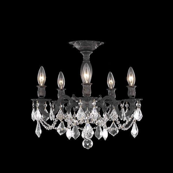 Somette Meilen 5-light Royal Cut Crystal and Antique Bronze Flush Mount