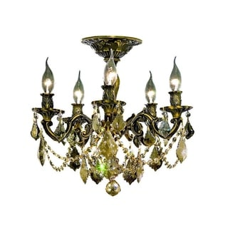 Somette Meilen 5-light Royal Cut Gold Crystal and Bronze Flush Mount