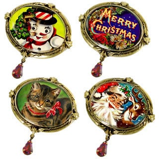 Sweet Romance Bronzetone Oval Christmas Pin