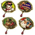 Sweet Romance Oval Vintage Christmas Pin