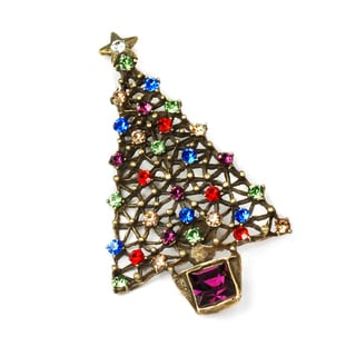 Sweet Romance Crystal Vintage Christmas Tree Holiday Pin