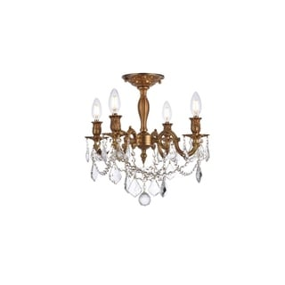 Christopher Knight Home Zurich 4-light Royal Cut Crystal and French Gold Flush Mount