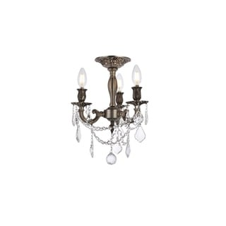 Christopher Knight Home Lugano 3-light Royal Cut Crystal and Pewter Flush Mount