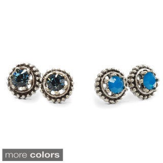 Sweet Romance Silvertone or Goldtone Vogue 2-pair Stud Earring Set