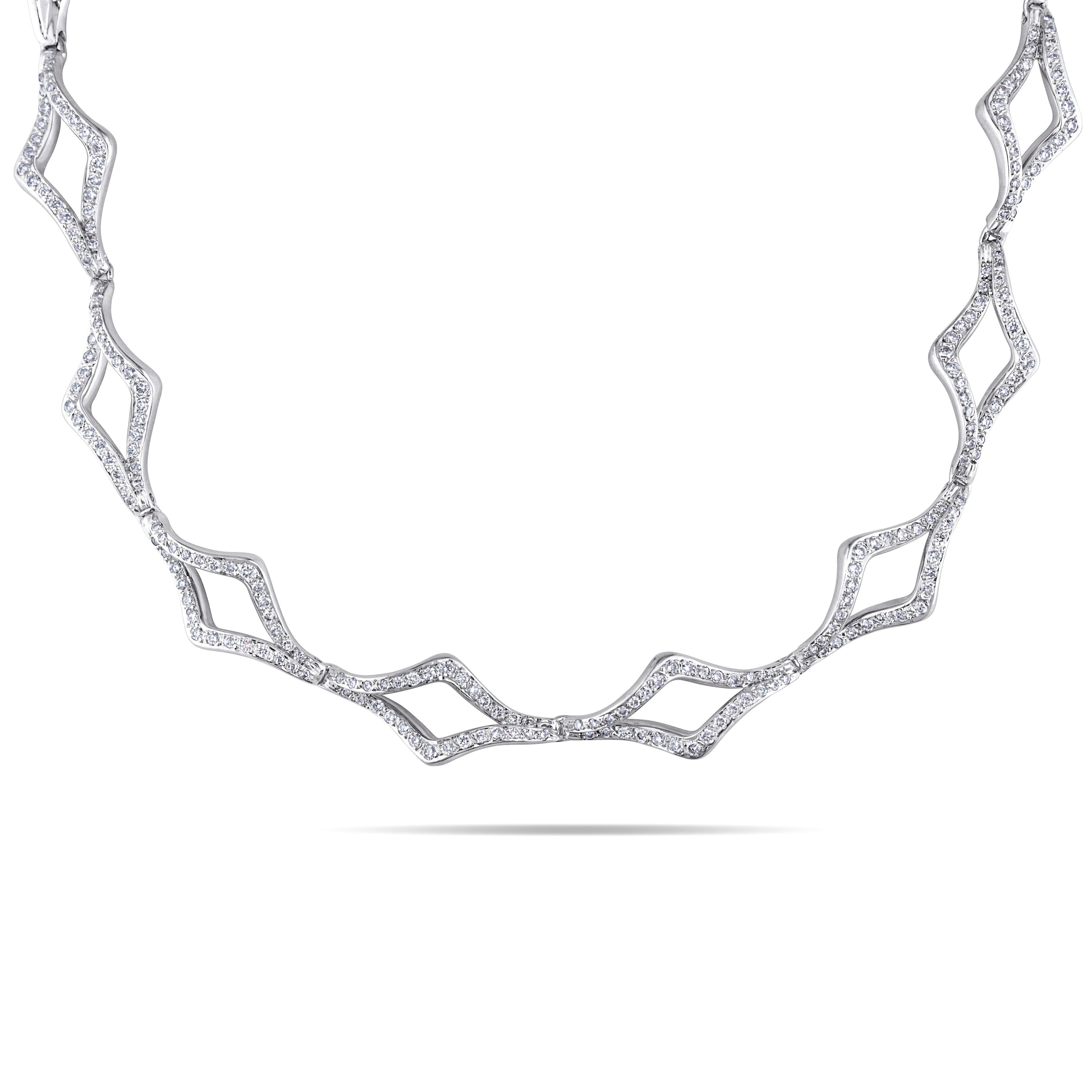 Miadora 18k White Gold 2 1/2ct TDW Diamond Open Link Necklace (G-H, SI1-SI2)