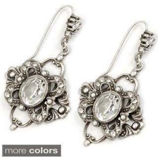 Sweet Romance Silvertone or Goldtone Crystal Laurelle Earrings