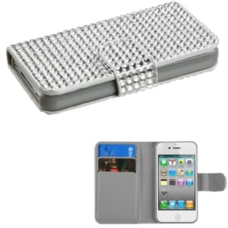 INSTEN Silver Book-Style MyJacket Wallet Case Cover for Apple iPhone 4/ 4S