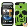 BasAcc Solid Pearl Green/ Black Skullcap Hybrid Case for HTC One/ M7