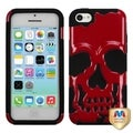 BasAcc Solid Red/ Black Skullcap Hybrid Case for Apple iPhone 5C