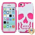 BasAcc Ivory White/ Pink Skullcap Hybrid Case for Apple iPhone 5C
