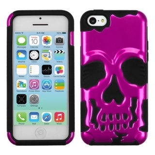 INSTEN Metallic Pink/ Black Skullcap Hybrid Phone Case Cover for Apple iPhone 5C