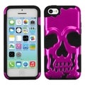 BasAcc Metallic Pink/ Black Skullcap Hybrid Case for Apple iPhone 5C